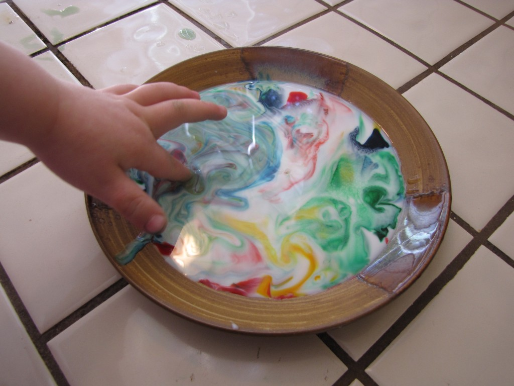 toddler tuesday milk  food coloring    soap experiment the abundant wife Food Coloring in Cups  Can You Use Food Coloring In Soap