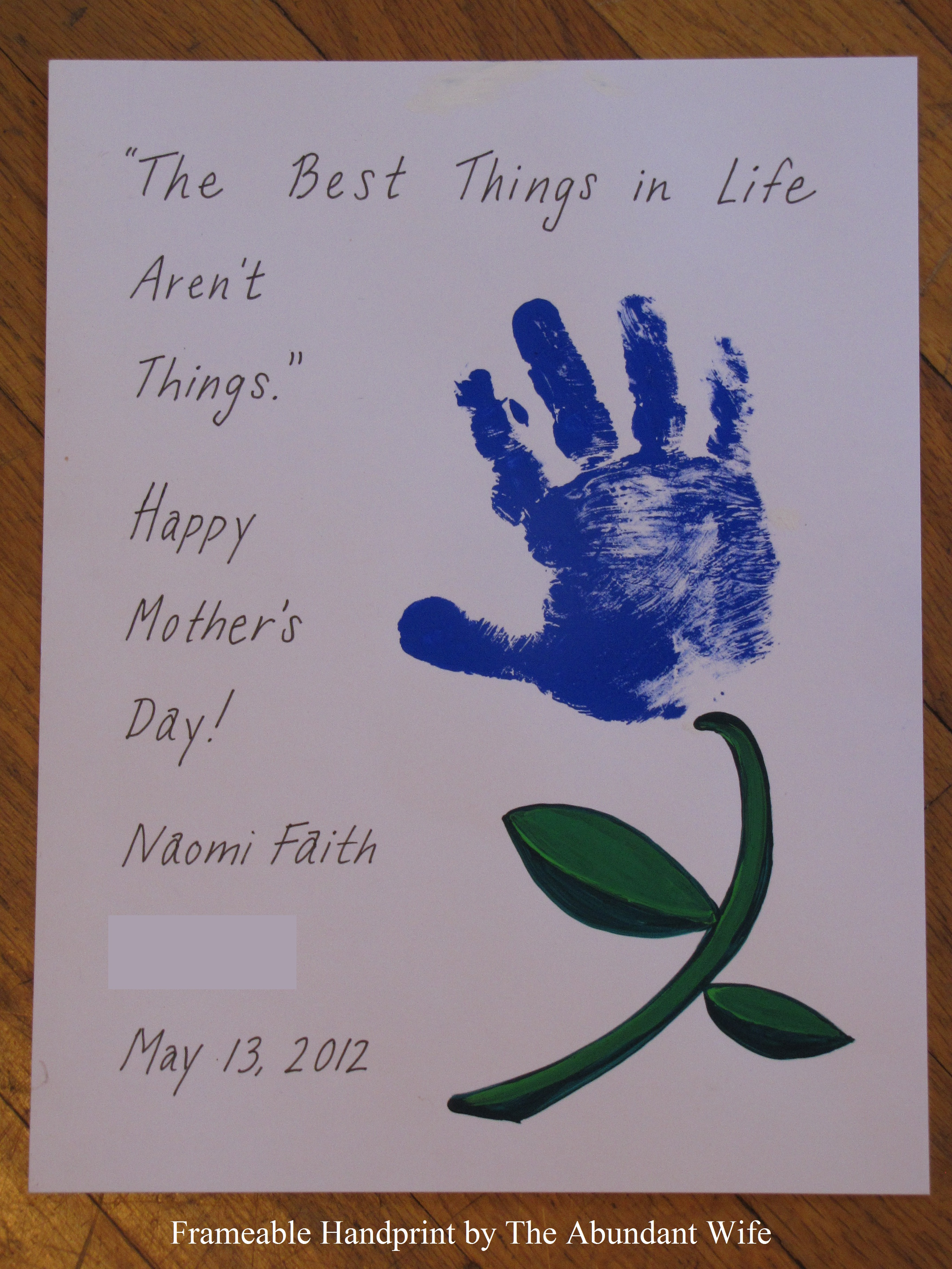 Happy mother 39 s day diy handprint flowers the abundant wife Mothers day presents diy