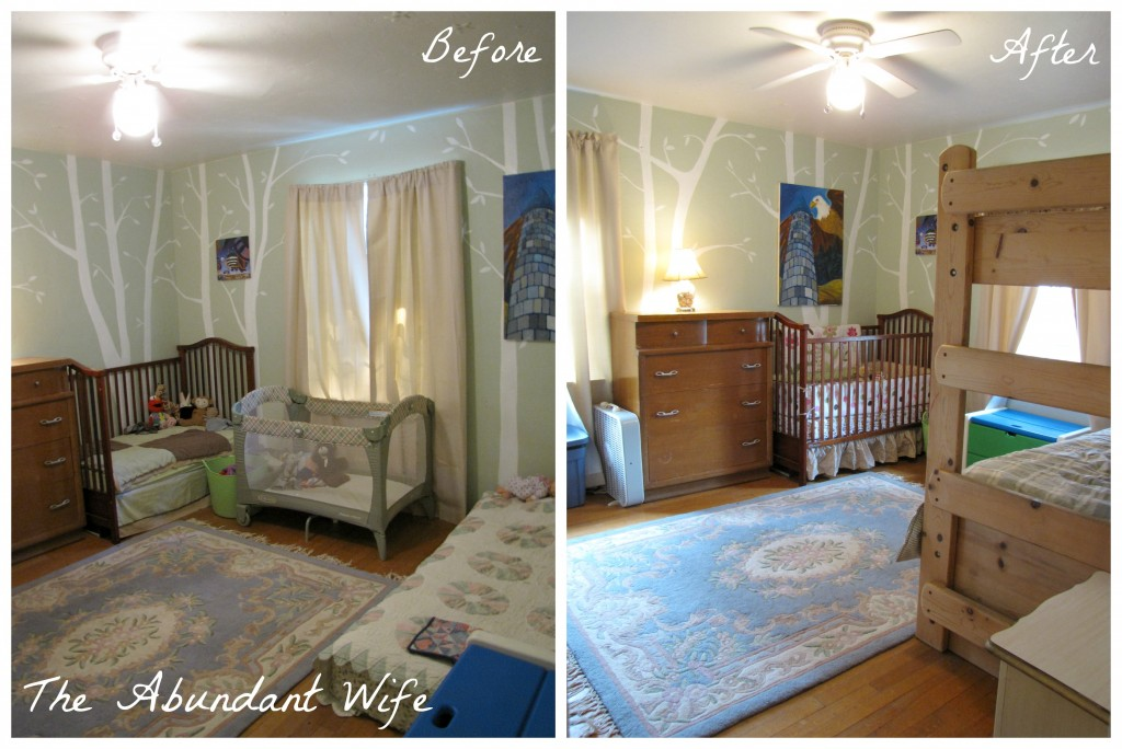 3 Kids in a Bedroom: Before & After New Bunk Beds 1