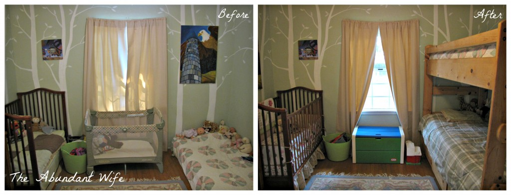 3 Kids in a Bedroom: Before & After New Bunk Beds 4